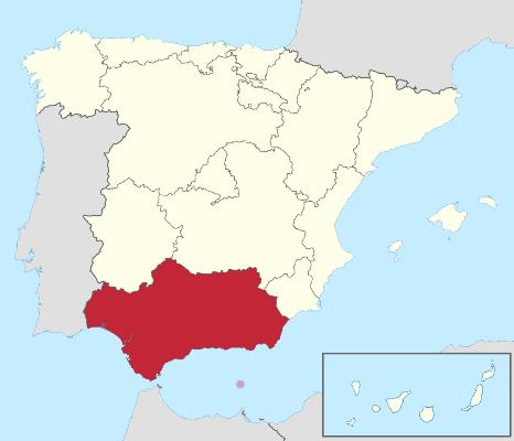Mapa topográfico de Andalucía